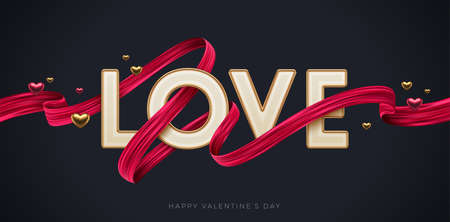 Valentines day greeting illustration. Word Love with red paint brush stroke. Letters with golden border and red ribbon. Vector illustration.