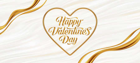 Valentines day greeting card. Golden paint lettering in heart-shaped frame on a fluid waves background. Love symbol - 3d golden realistic metal heart with greeting. Vector illustration.