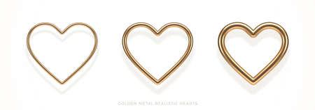 Set of realistic 3d golden metal hearts with different thicknesses and reflection from white background. Decoration elements for Valentines day or wedding design. Love sign and symbol. Vector illustration.