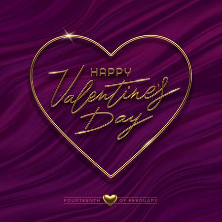 Valentines day vector illustration. Realistic golden metal calligraphic greeting in heart shaped frame on purple fluid waves background.