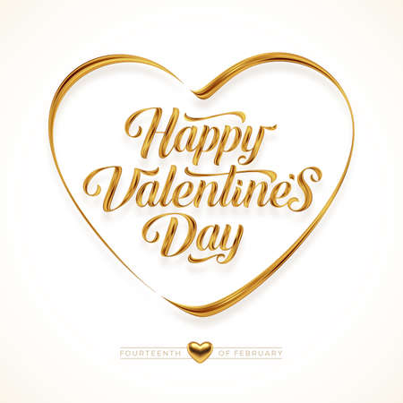 Valentines day greeting card with lettering calligraphy. Golden paint brush stroke. Golden love symbol. Vector illustration. Ilustracja