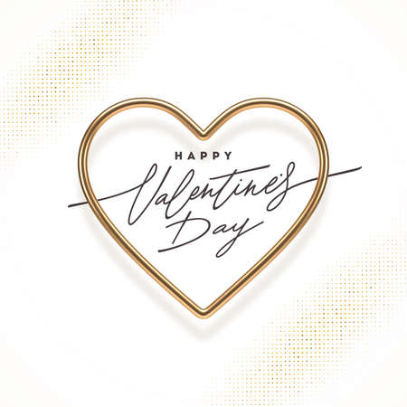 Valentines day calligraphic greeting in heart shaped golden frame. Love symbol - realistic golden metal 3d hearts. Vector illustration.