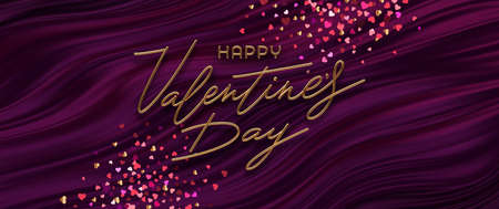 Valentines day vector illustration. Realistic golden metal calligraphic greeting and heart shaped confetti on purple fluid waves background. Ilustracja