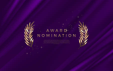 Award nomination - design template. Golden branches on a purple cloth background. Award sign with golden leaves. Vector illustration. Ilustracja