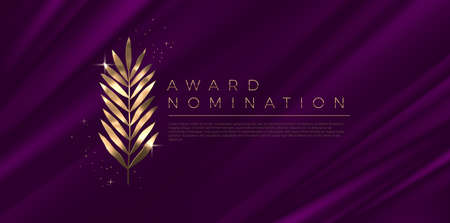 Award nomination - design template. Golden branch on a purple cloth background. Award sign with golden leaves. Vector illustration.