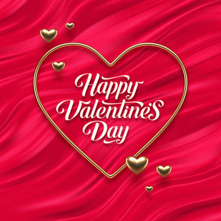 Valentines day calligraphic greeting in heart shaped golden frame on red fluid waves background. Love symbol - realistic golden metal 3d hearts. Vector illustration.
