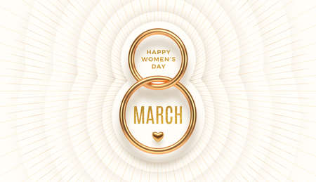 8 March - International women's day vector illustration. Realistic gold number eight and glitter gold greeting on a white layered background with light burst rays.