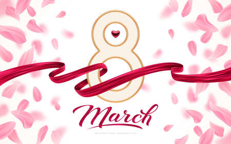 8 March International women's day greeting card - Golden number eight, ruby heart and red painting ribbon on background with pink petals.  Vector illustration.