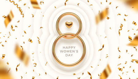 8 March - International women's day vector illustration. Realistic gold metal number eight, heart and falling golden confetti on a paper layered white background. Ilustracja