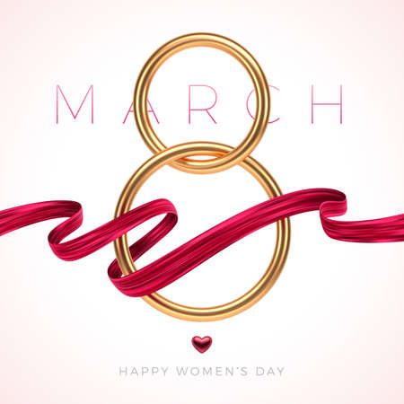 8 March - International women's day greeting card. Golden number eight, ruby heart and red painting ribbon on light colored background.  Vector illustration. Ilustracja