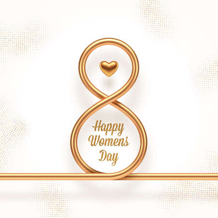 8 March - International women's day vector illustration. Realistic gold metal number eight, heart and glitter gold greeting on a white background with golden halftone.
