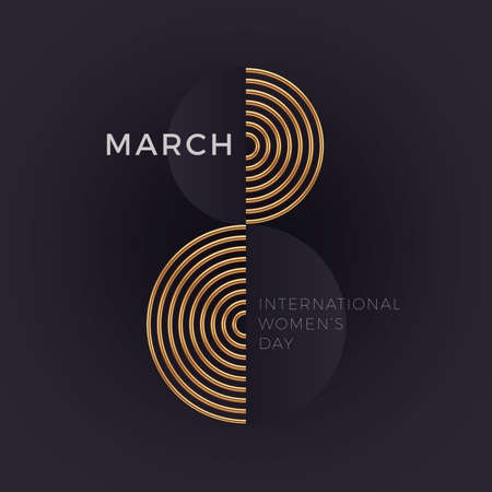 8 March - International women's day greeting card. Abstract golden number eight on dark background.  Vector illustration.