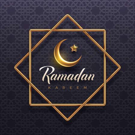 Ramadan Kareem vector illustration. Ramadan greeting card with golden crescent and frame on a arabic pattern. Design for Holy month Ramadan celebration.