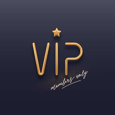 VIP invitation template with 3d golden letters. Realistic golden metal VIP sign on a dark background. Premium design. Vector illustration. Ilustracja