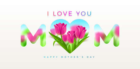 Mothers day greeting card - design with heart and tulips flowers. Vector illustration.