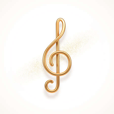 Realistic golden metal treble clef on a white background. 3d golden musical symbol - decoration elements for design. Vector illustration.