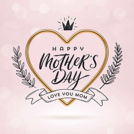 Happy mother's day - Greeting card. Calligraphy in realistic golden heart-shaped frame and hand drawn doodle decor. Vector illustration. Ilustracja