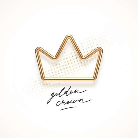 Realistic golden metal crown on a white background. 3d golden crown - decoration elements for design. Vector illustration. Ilustracja