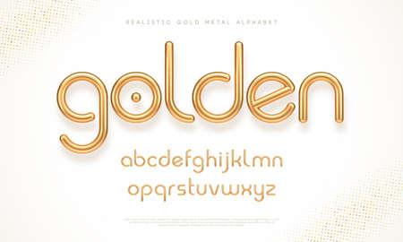 Realistic gold metal font. Modern minimal font. Metallic 3d typeface. English alphabet. Vector illustration. Ilustracja
