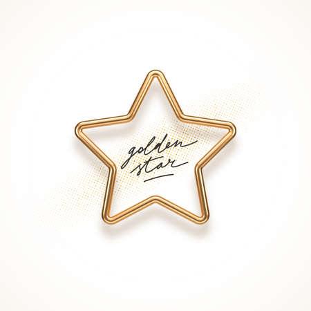Realistic golden metal star on a white background. 3d golden star - decoration elements for design. Vector illustration.