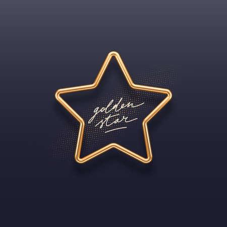 Realistic golden metal star on a dark background. 3d golden star - decoration elements for design. Vector illustration.