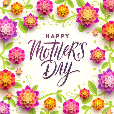 Happy mother's day - Greeting card. Calligraphic greeting and background with flowers. Vector illustration.