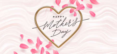 Mothers day vector illustration. Calligraphic greeting in heart shaped metallic frame and flower petals on a pink fluid waves background. Love symbol - realistic golden metallic 3d hearts.