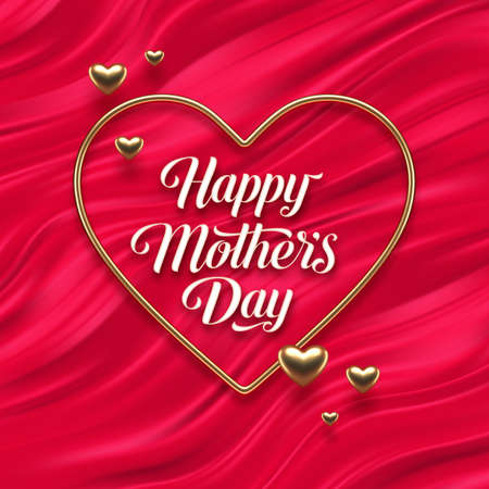 Mothers day calligraphic greeting in heart shaped golden frame on red fluid waves background. Love symbol - realistic golden metal 3d hearts. Vector illustration.