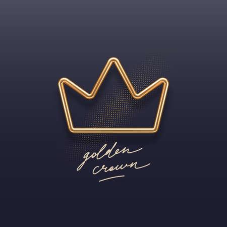 Realistic golden metal crown on a dark background. 3d golden crown - decoration elements for design. Vector illustration.