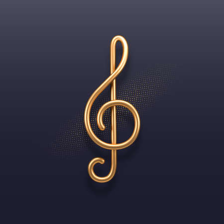 Realistic golden metal treble clef on a dark background. 3d golden musical symbol - decoration elements for design. Vector illustration.