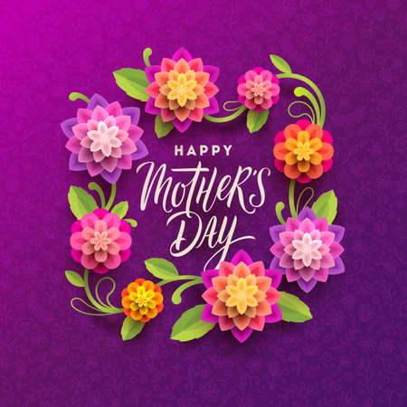 Mothers day greeting card - Calligraphic greeting and flowers frame on a floral doodle background. Vector illustration.