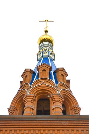 Red brick orthodox Russian church against the sky