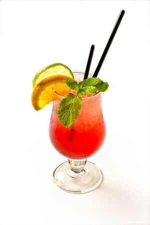 Berries Mojito with Energy Drink, Strawberry and Lime and Sweet Syrup. Nonalcoholic Beverage. insulation