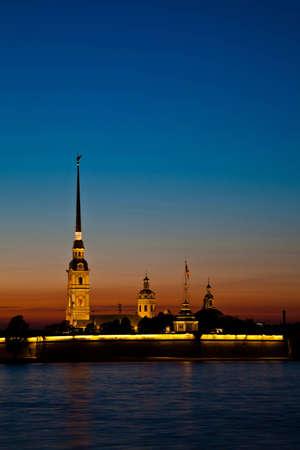 Lights Petropavlovskoy fortresses photo