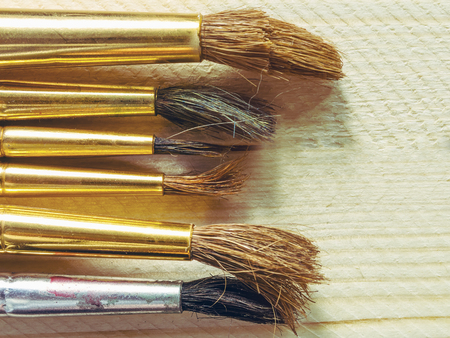 oil paints: oil paints and paint brushes on the background