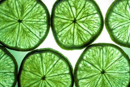 transmitted: Macro shot of a slice of lime in transmitted light