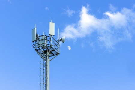 communication tower: Communication Tower on blue sky background
