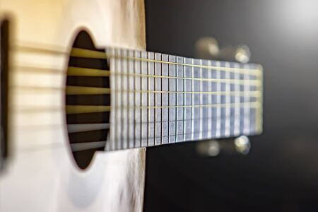 Acoustic guitar. Strings. background Stock Photo