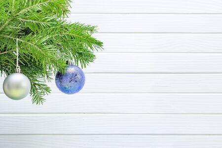 Christmas decoration isolated on the white wooden background