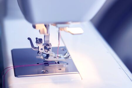 Close-up detail of the sewing machine Banco de Imagens