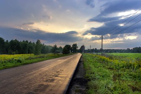 Asphalt road among the forest, and the sky at sunset.