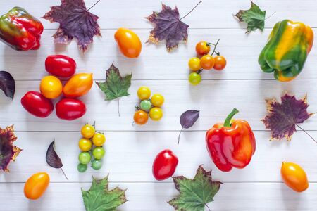 Peppers, tomatoes on a white table. Top view and health on white background. Autumn theme