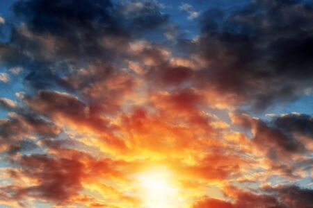 Beautiful sunset with clouds in many colors Stock Photo