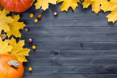 Autumn leaves and pumpkin over old dark wooden background with copy space.