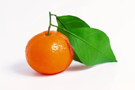 One tangerine with leaf on a white isolated background