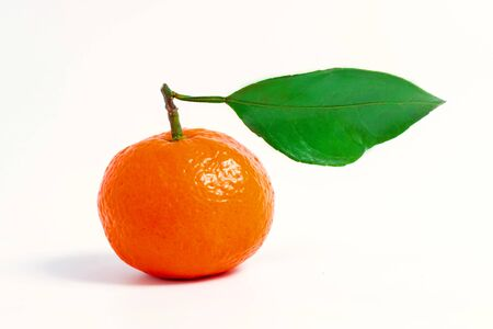 One tangerine with leaf on a white isolated background Banco de Imagens