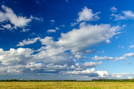 Beautiful clouds over the Russian field. Summer landscape