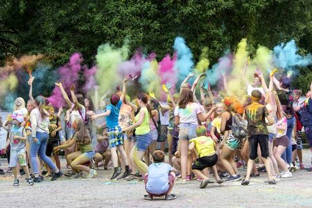 Nizhniy Novgorod, Russia - JUNE 22: A group of children showered with dry paints at a paint festival in Russia.