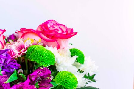 Beautiful bouquet on a white isolated background. 8 March Womens Day