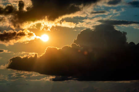 Dramatic sky with clouds on sunset. Nature composition. Summer background